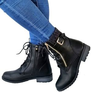 Shoes - New Black Sweater Lace Up Combat Ankle Boot Bootie